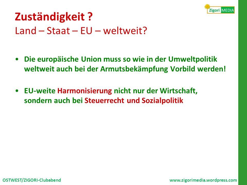 Zuständigkeit Land – Staat – EU – weltweit
