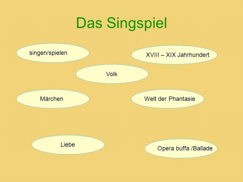 Das Singspiel singen/spielen XVIII – XIX Jahrhundert Volk Märchen