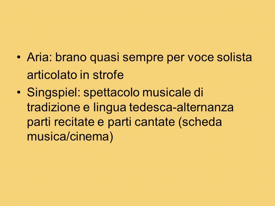 Aria: brano quasi sempre per voce solista