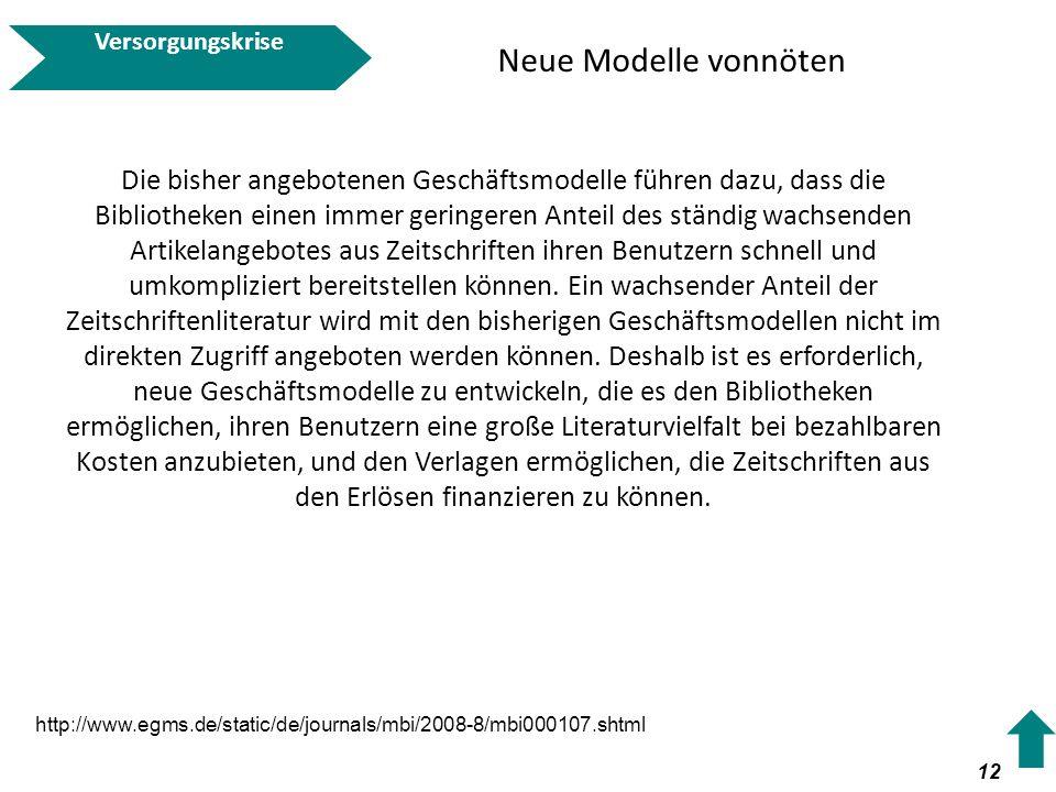 Versorgungskrise Neue Modelle vonnöten.
