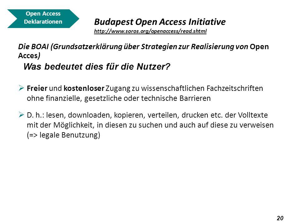 Open AccessDeklarationen. Budapest Open Access Initiative http://www.soros.org/openaccess/read.shtml.