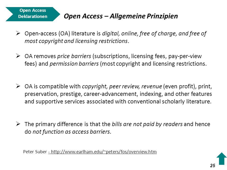 Open Access – Allgemeine Prinzipien