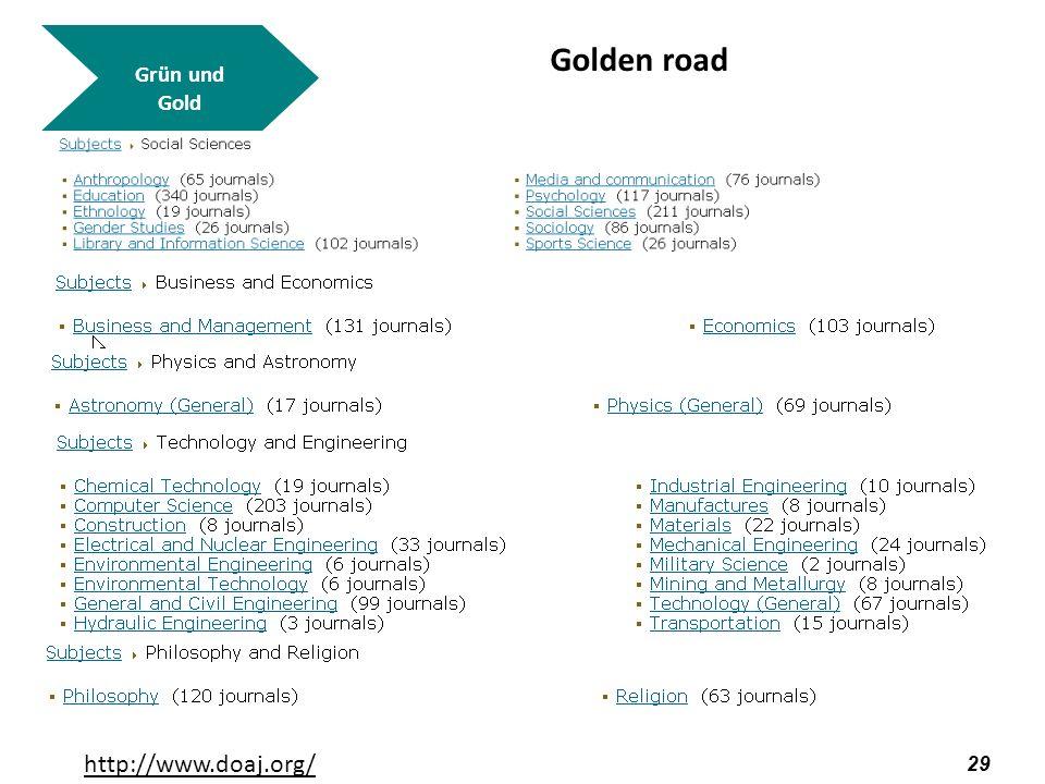 Grün und Gold Golden road http://www.doaj.org/