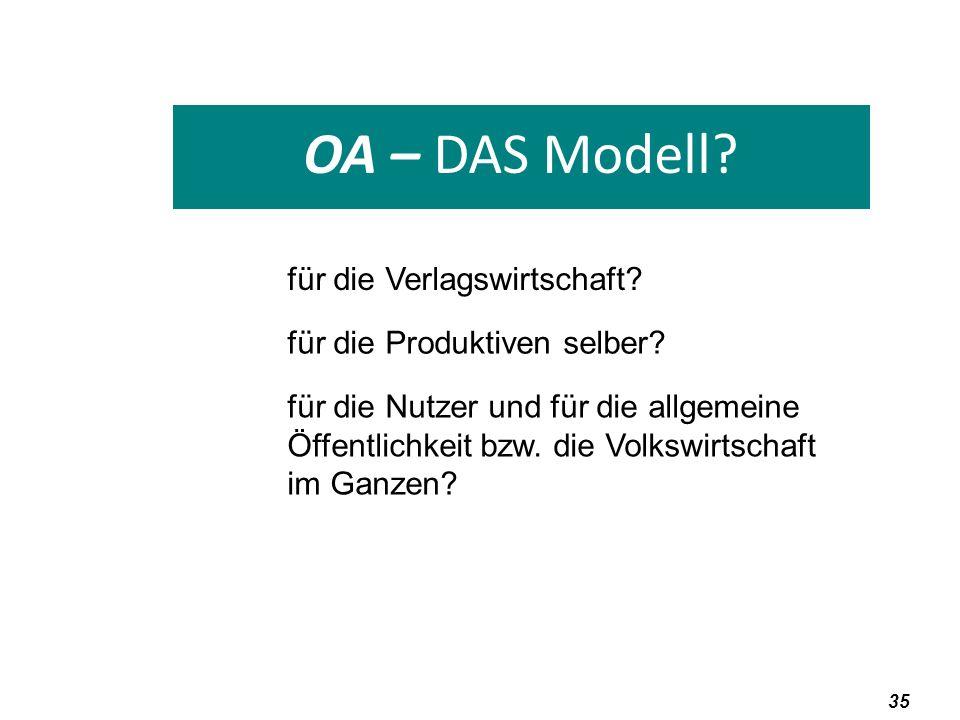 OA – DAS Modell für die Verlagswirtschaft