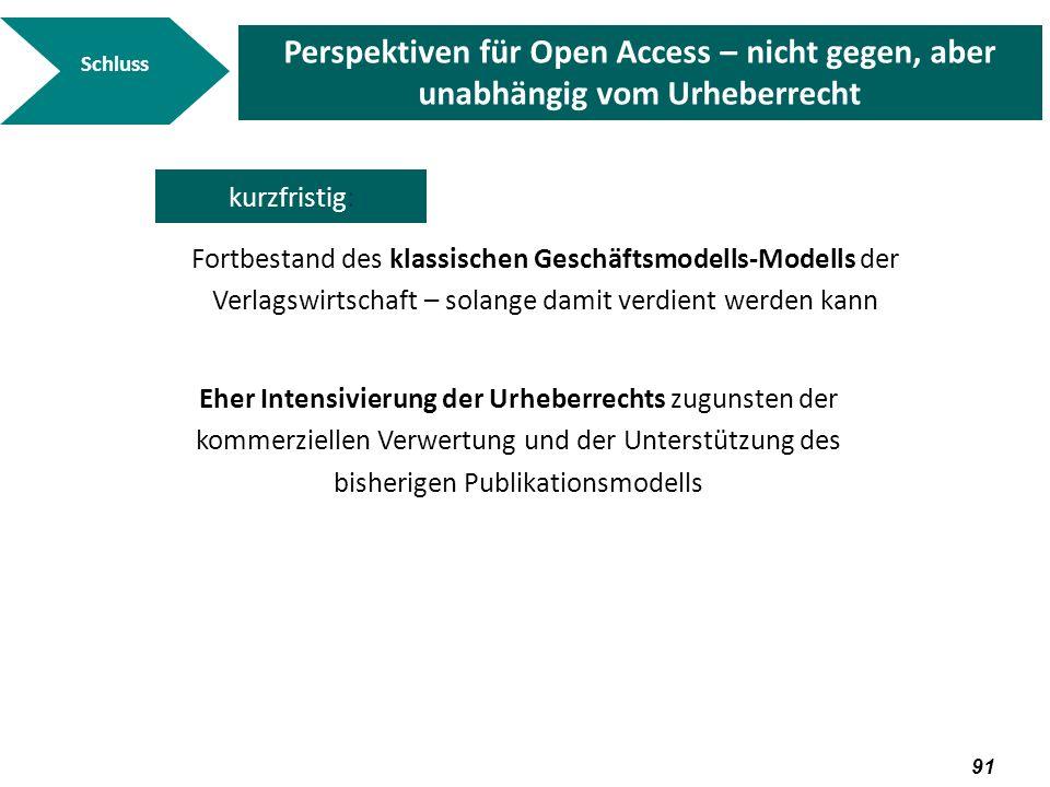 SchlussPerspektiven für Open Access – nicht gegen, aber unabhängig vom Urheberrecht. kurzfristig: