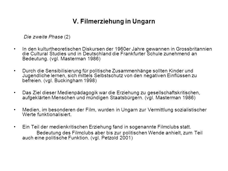 V. Filmerziehung in Ungarn