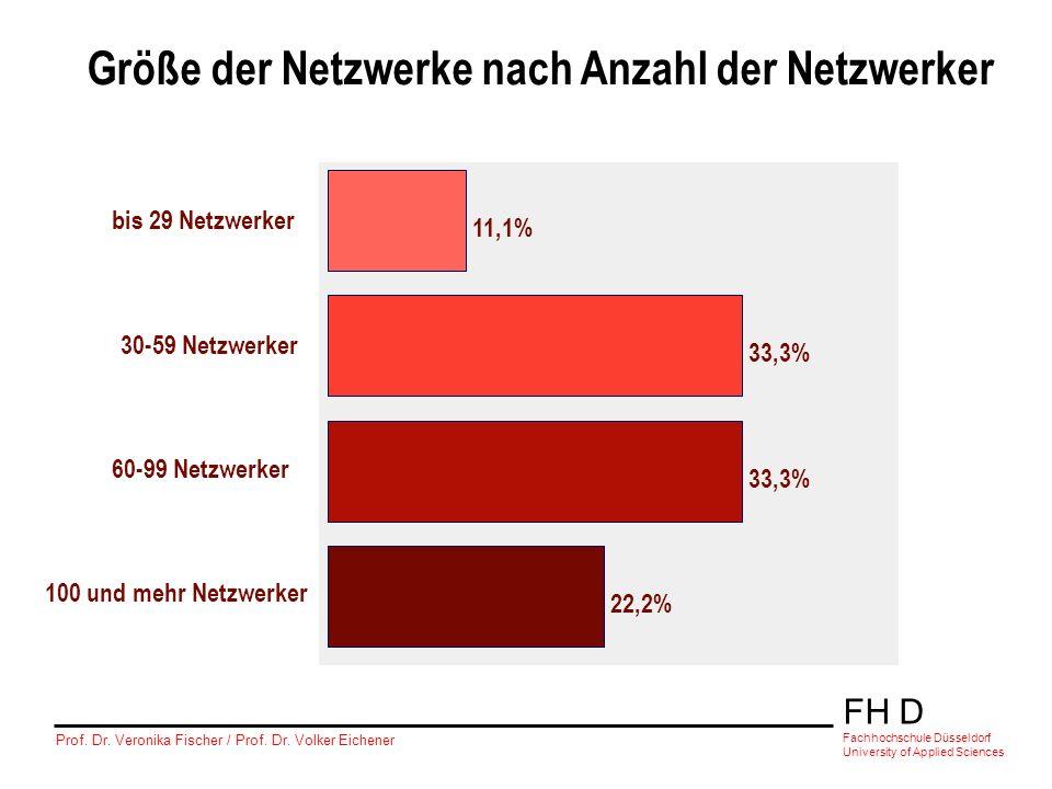 Größe der Netzwerke nach Anzahl der Netzwerker