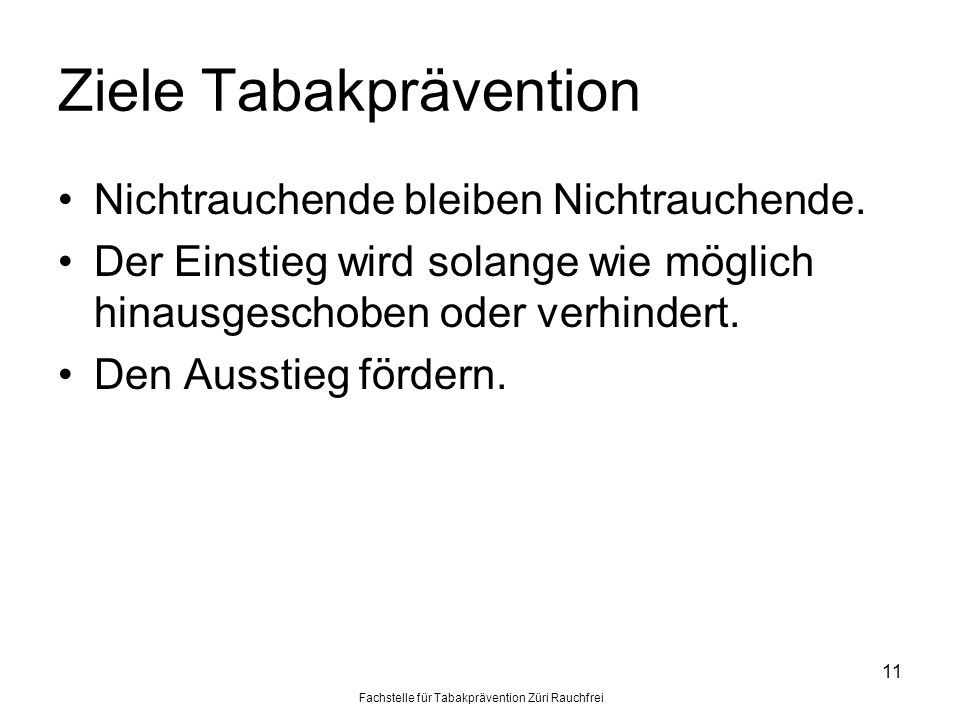 Ziele Tabakprävention