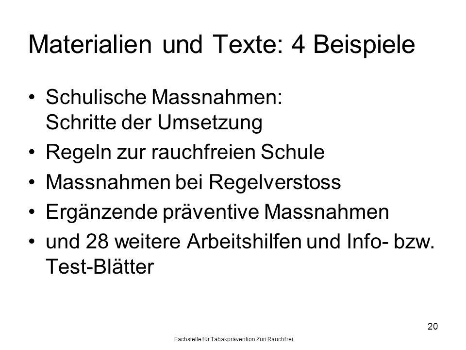 Materialien und Texte: 4 Beispiele