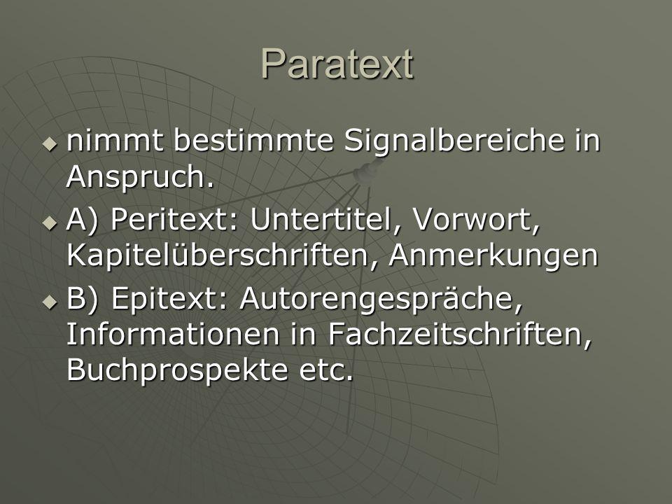 Paratext nimmt bestimmte Signalbereiche in Anspruch.