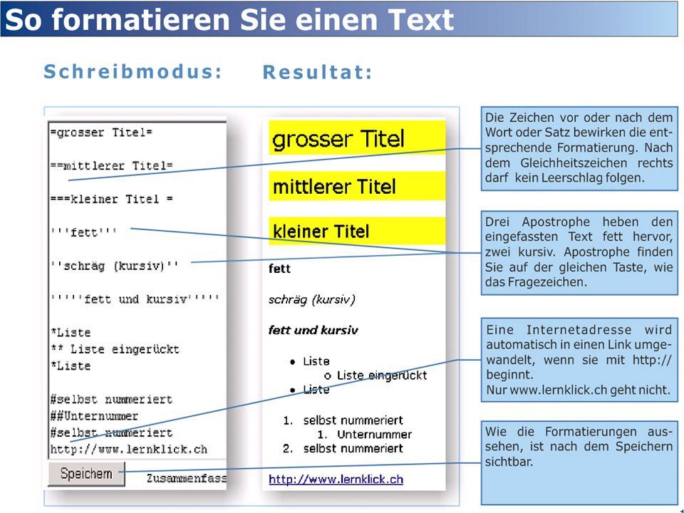 Text formatieren mit Zechen.