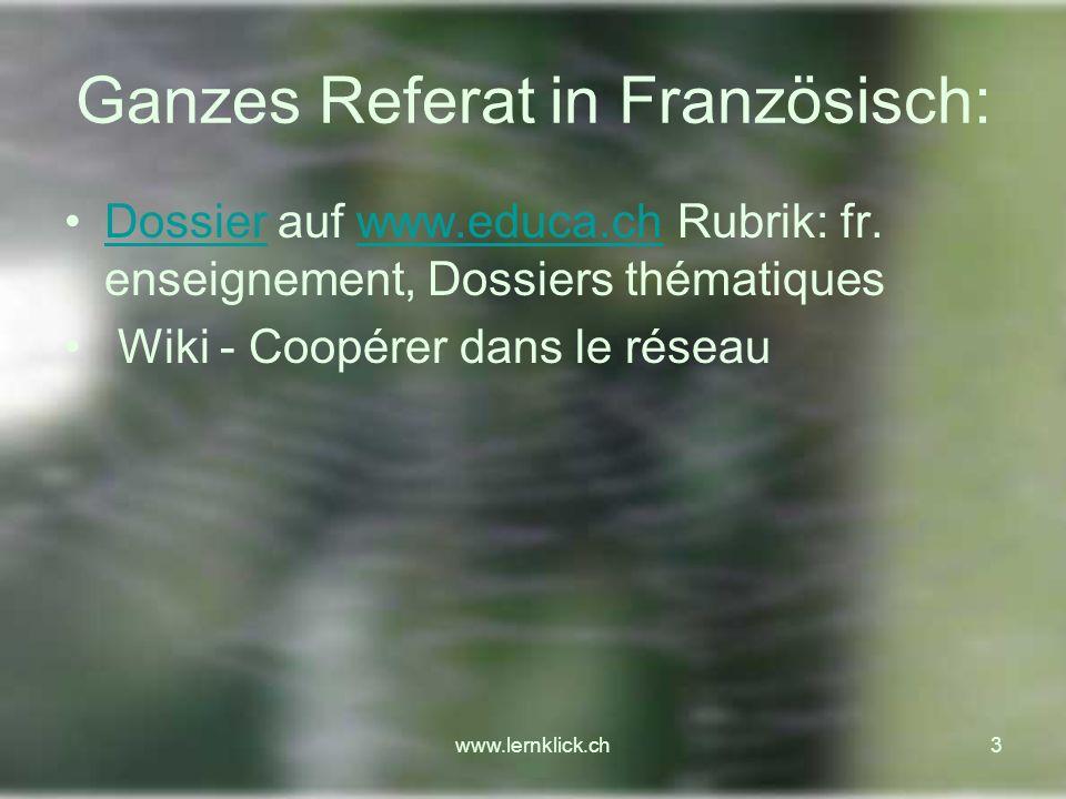 Ganzes Referat in Französisch: