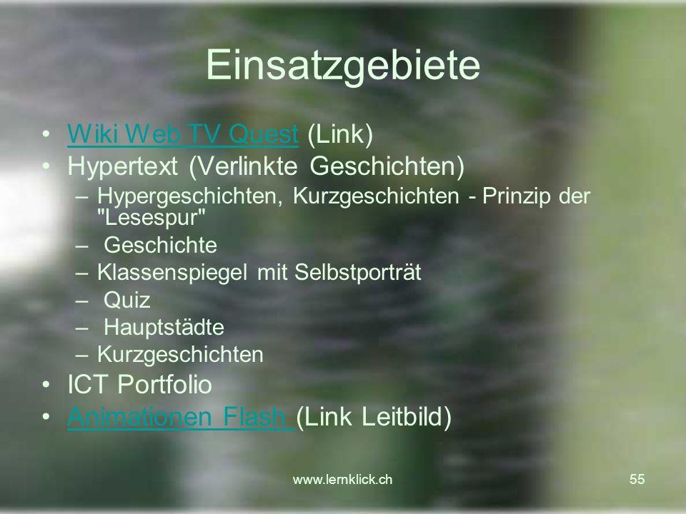 Einsatzgebiete Wiki Web TV Quest (Link)