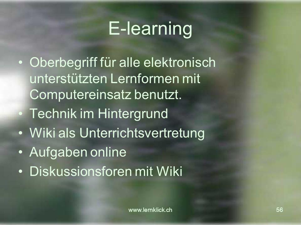 E-learning Oberbegriff für alle elektronisch unterstützten Lernformen mit Computereinsatz benutzt. Technik im Hintergrund.