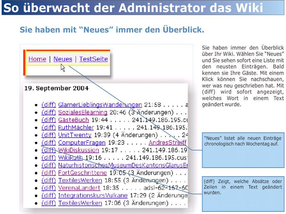 Sie haben immer den Überblick über Ihr Wiki