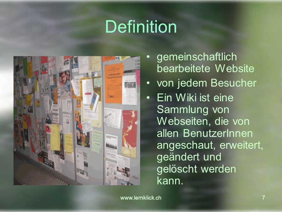 Definition gemeinschaftlich bearbeitete Website von jedem Besucher