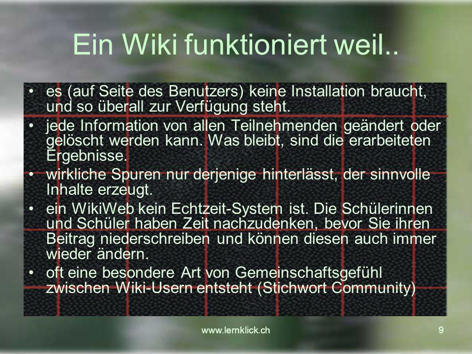 Ein Wiki funktioniert weil..