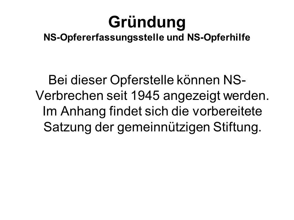 Gründung NS-Opfererfassungsstelle und NS-Opferhilfe