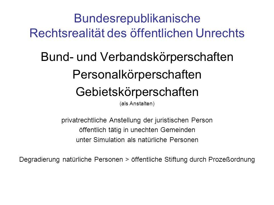 Bundesrepublikanische Rechtsrealität des öffentlichen Unrechts