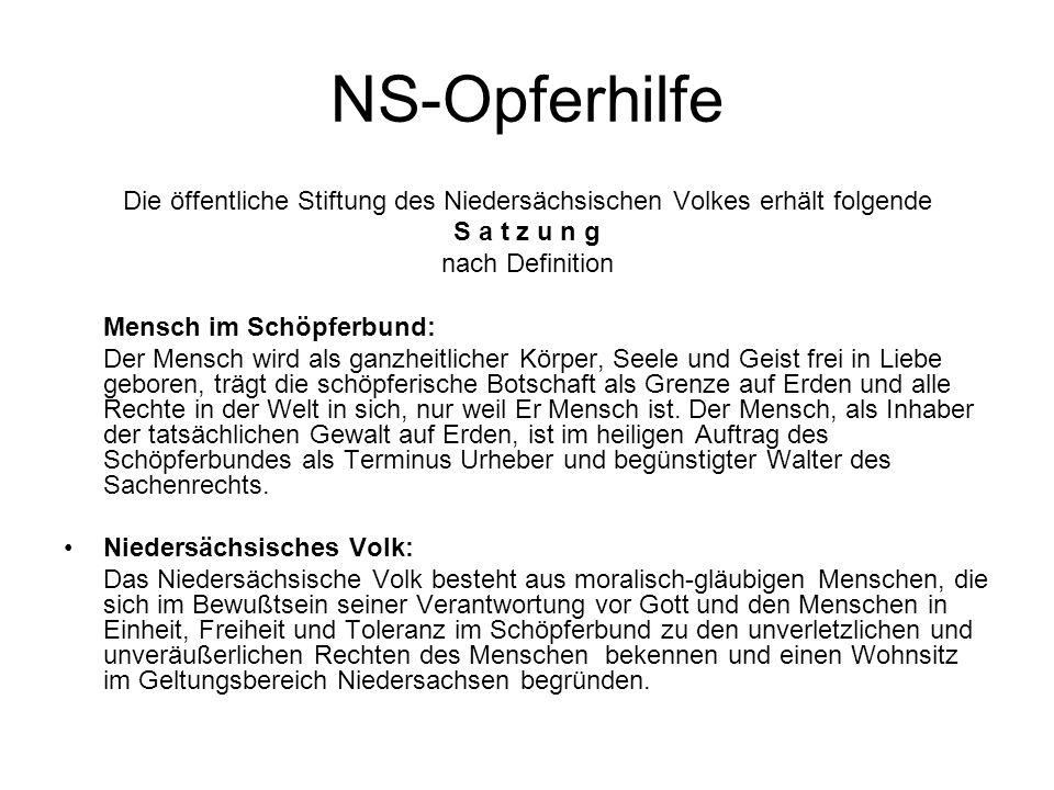 Die öffentliche Stiftung des Niedersächsischen Volkes erhält folgende