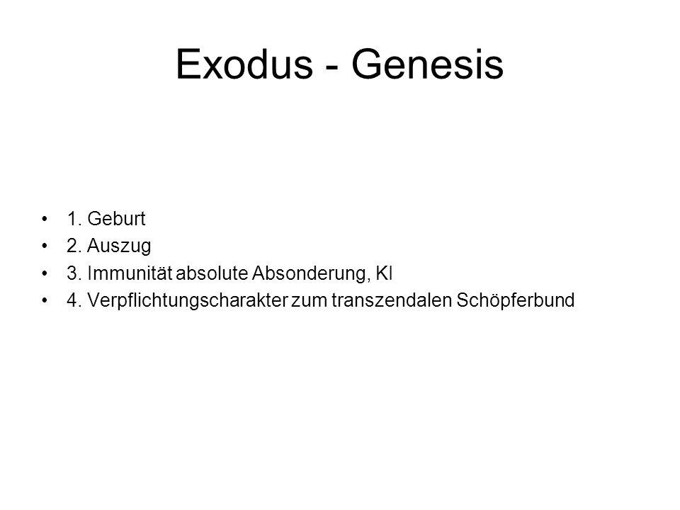 Exodus - Genesis 1. Geburt 2. Auszug