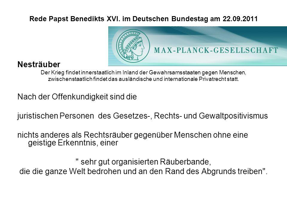 Rede Papst Benedikts XVI. im Deutschen Bundestag am 22.09.2011