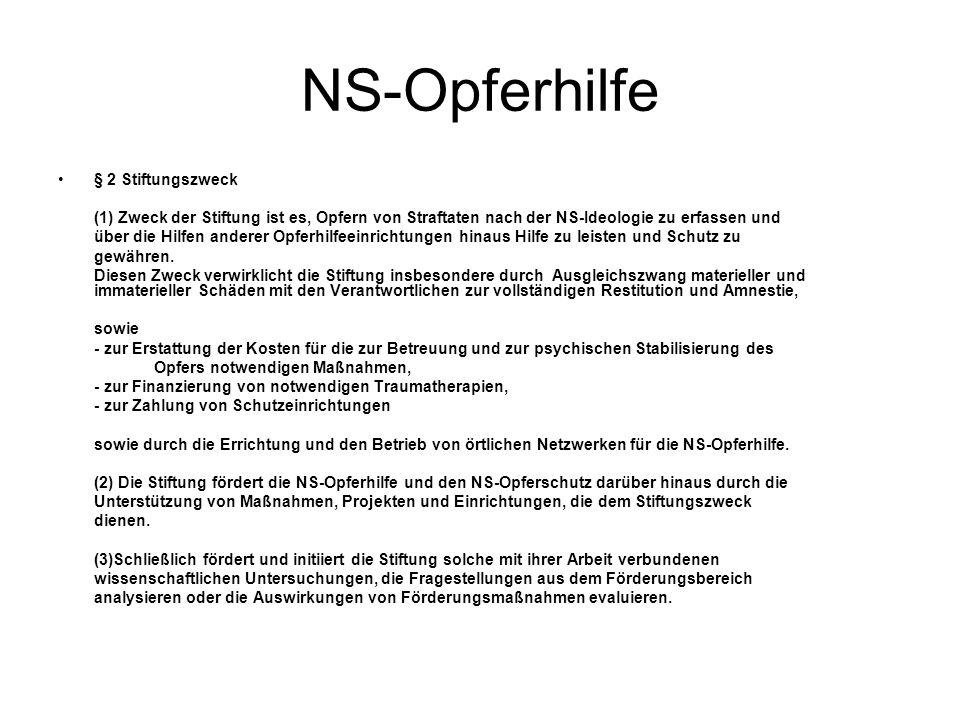 NS-Opferhilfe § 2 Stiftungszweck