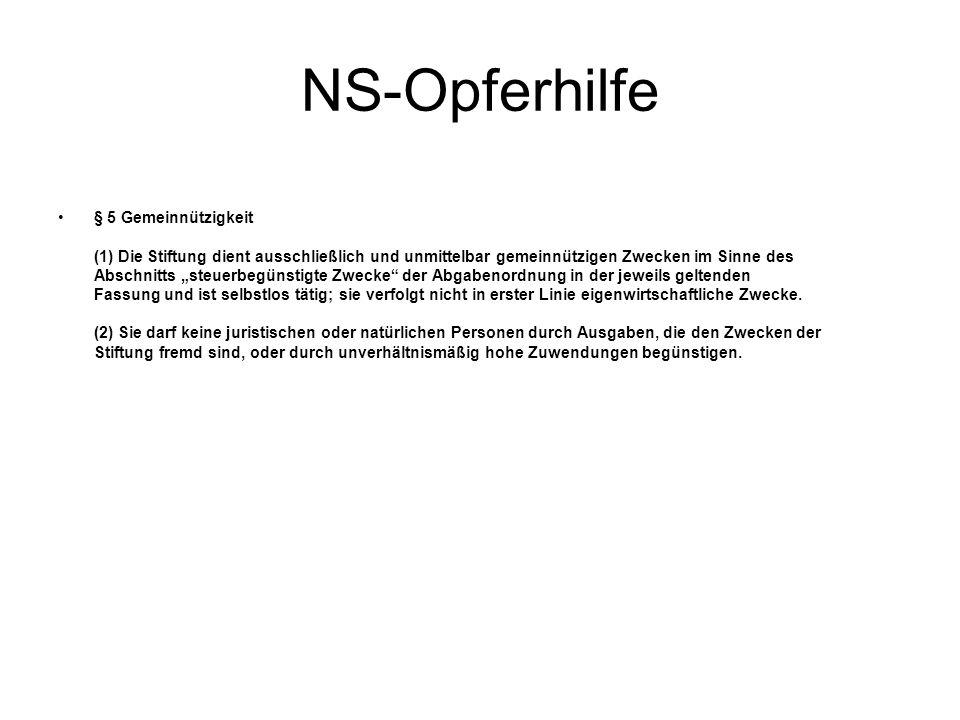 NS-Opferhilfe § 5 Gemeinnützigkeit