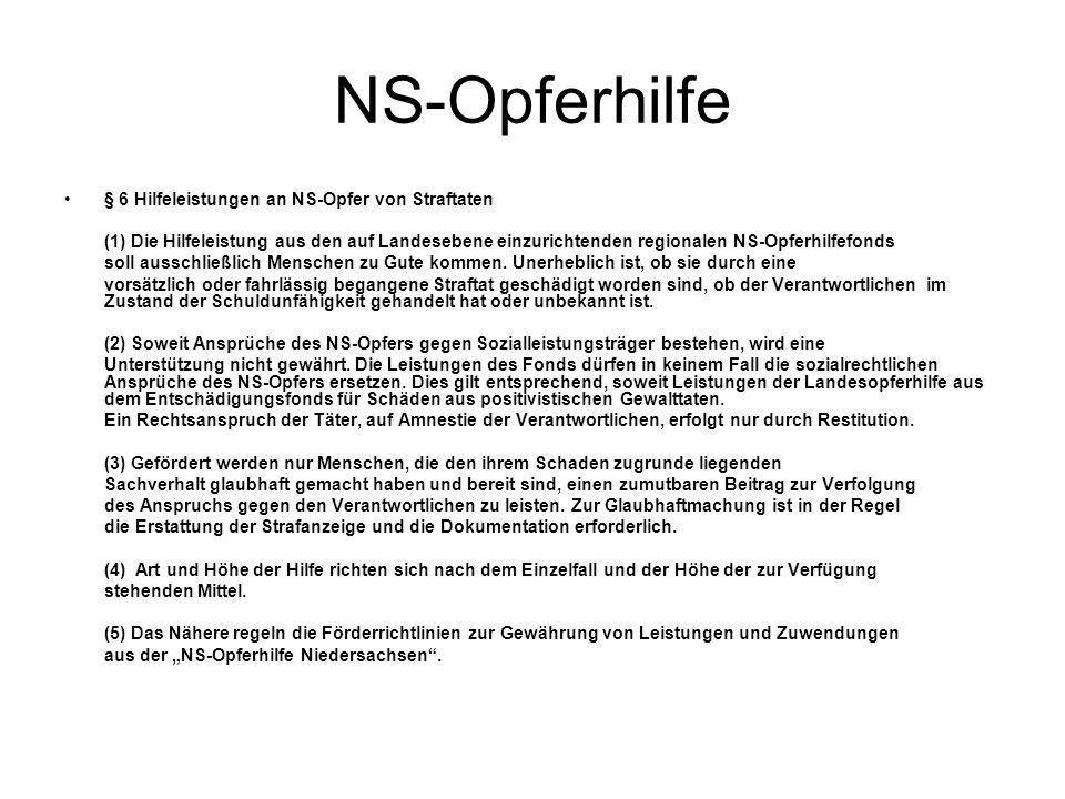 NS-Opferhilfe § 6 Hilfeleistungen an NS-Opfer von Straftaten