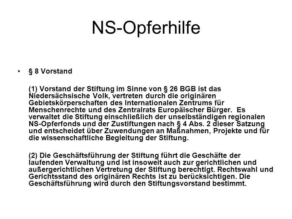 NS-Opferhilfe § 8 Vorstand