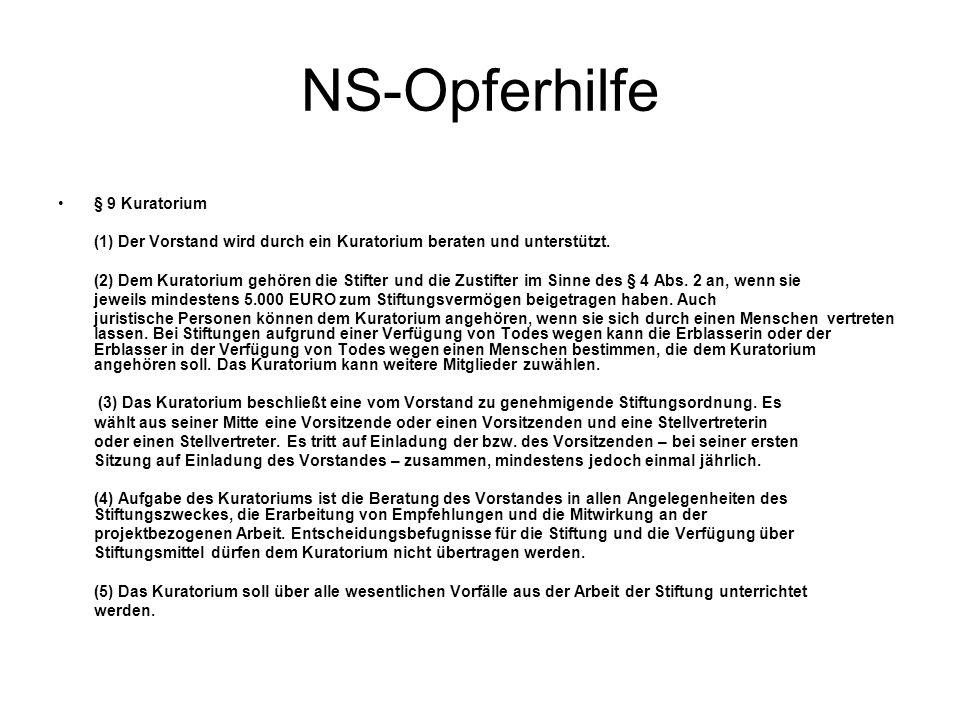 NS-Opferhilfe § 9 Kuratorium