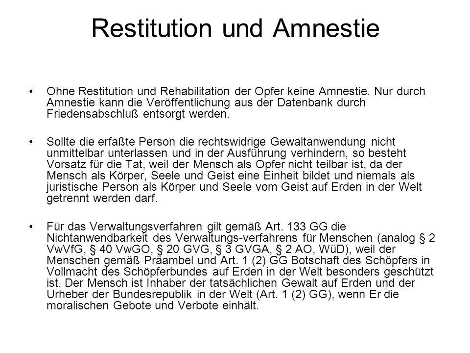 Restitution und Amnestie