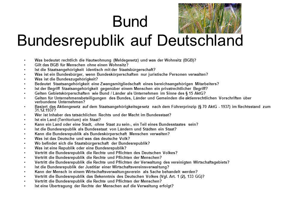 Bund Bundesrepublik auf Deutschland