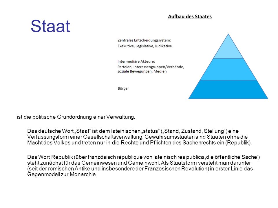 Staat ist die politische Grundordnung einer Verwaltung.