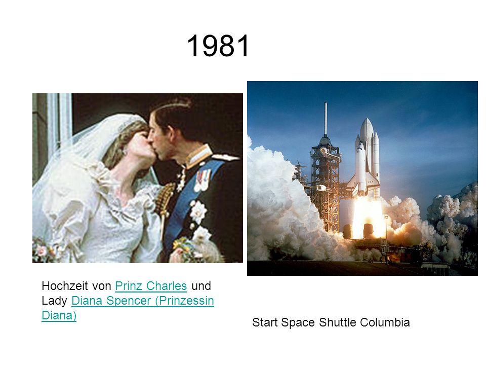 1981 Hochzeit von Prinz Charles und Lady Diana Spencer (Prinzessin Diana) Start Space Shuttle Columbia.