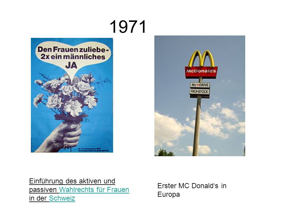 1971 Einführung des aktiven und passiven Wahlrechts für Frauen in der Schweiz.