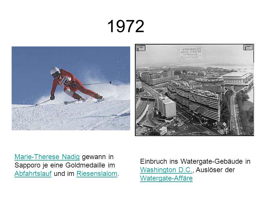 1972 Marie-Therese Nadig gewann in Sapporo je eine Goldmedaille im Abfahrtslauf und im Riesenslalom.