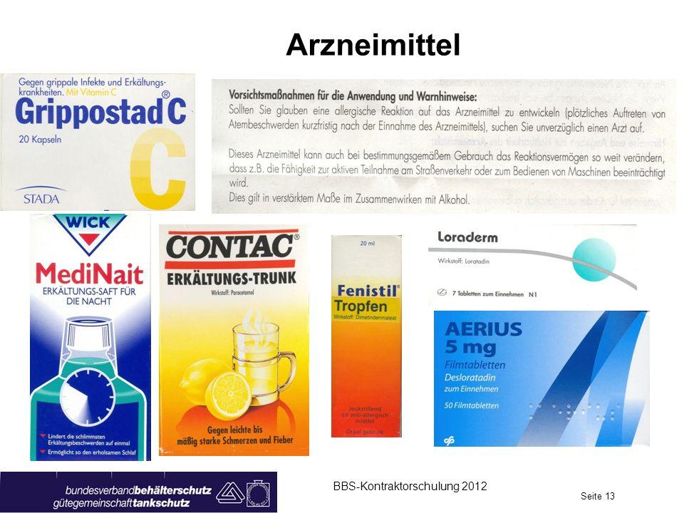 Arzneimittel BBS-Kontraktorschulung 2012