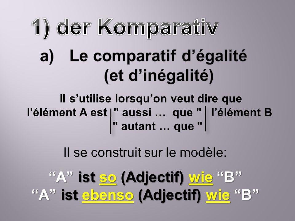 1) der Komparativ Le comparatif d'égalité (et d'inégalité)