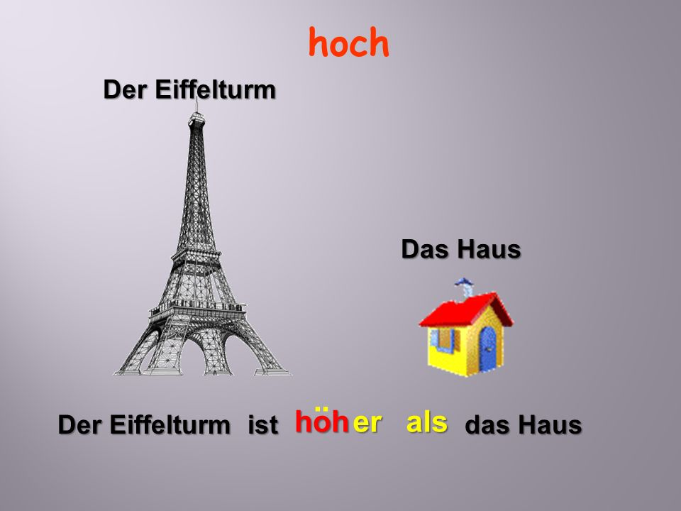 hoch Der Eiffelturm Das Haus ¨ hoh er als Der Eiffelturm ist das Haus