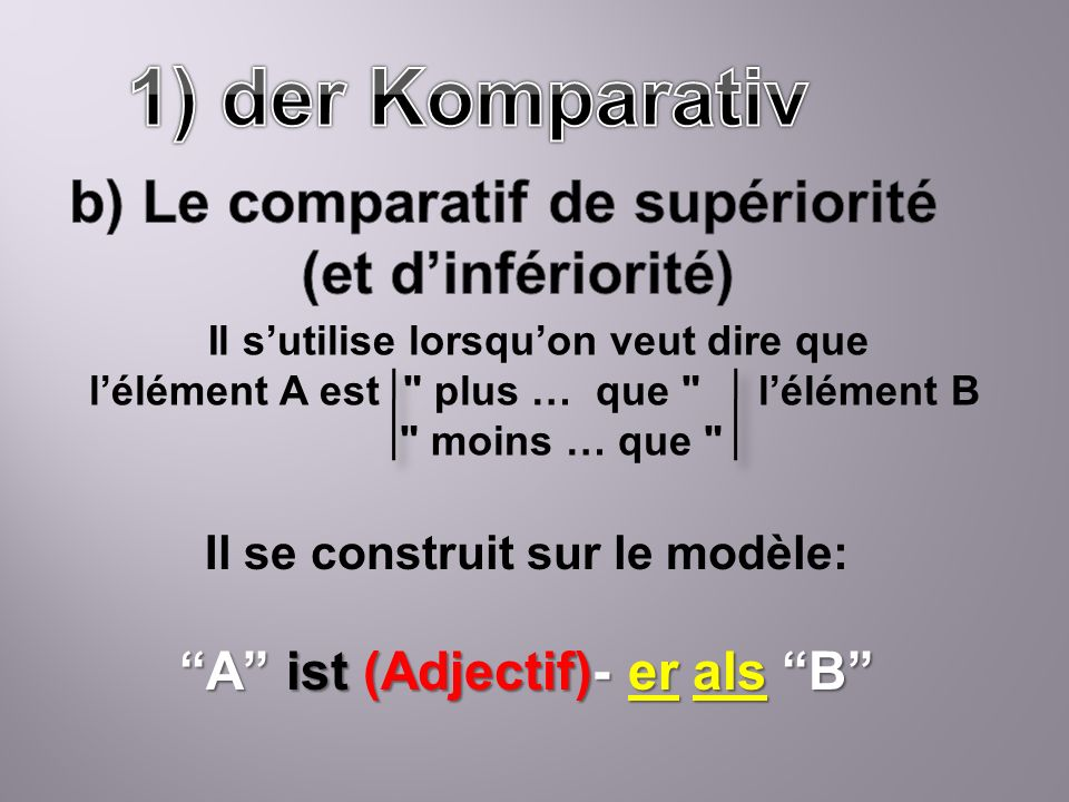 1) der Komparativ b) Le comparatif de supériorité (et d'infériorité)