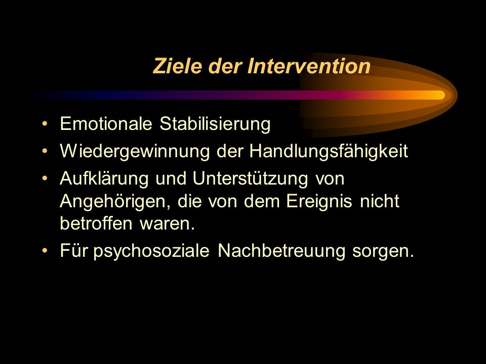 Ziele der Intervention