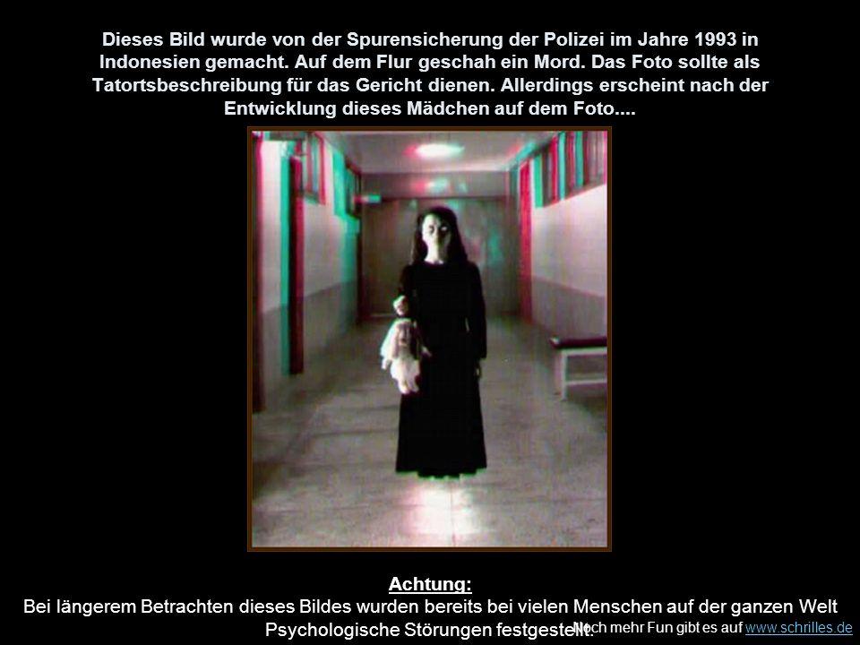 Dieses Bild wurde von der Spurensicherung der Polizei im Jahre 1993 in Indonesien gemacht. Auf dem Flur geschah ein Mord. Das Foto sollte als Tatortsbeschreibung für das Gericht dienen. Allerdings erscheint nach der Entwicklung dieses Mädchen auf dem Foto....