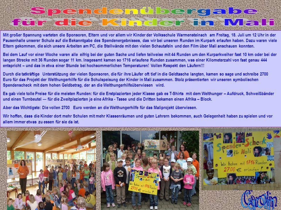 Spendenübergabe für die Kinder in Mali Carolin