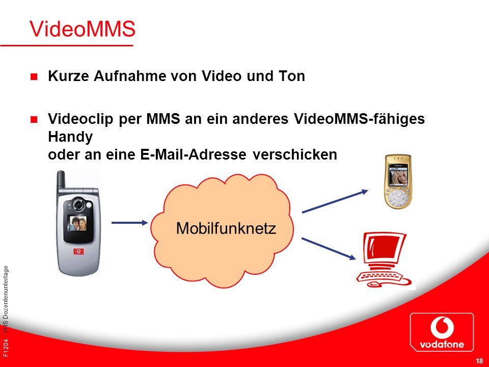 VideoMMS Mobilfunknetz Kurze Aufnahme von Video und Ton