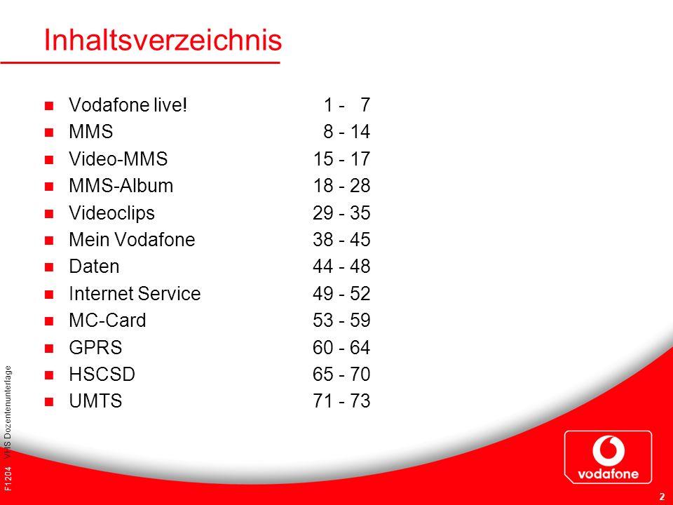Inhaltsverzeichnis Vodafone live! 1 - 7 MMS 8 - 14 Video-MMS 15 - 17