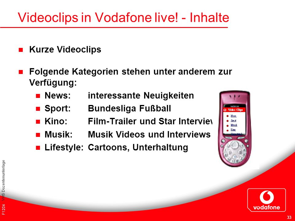 Videoclips in Vodafone live! - Inhalte