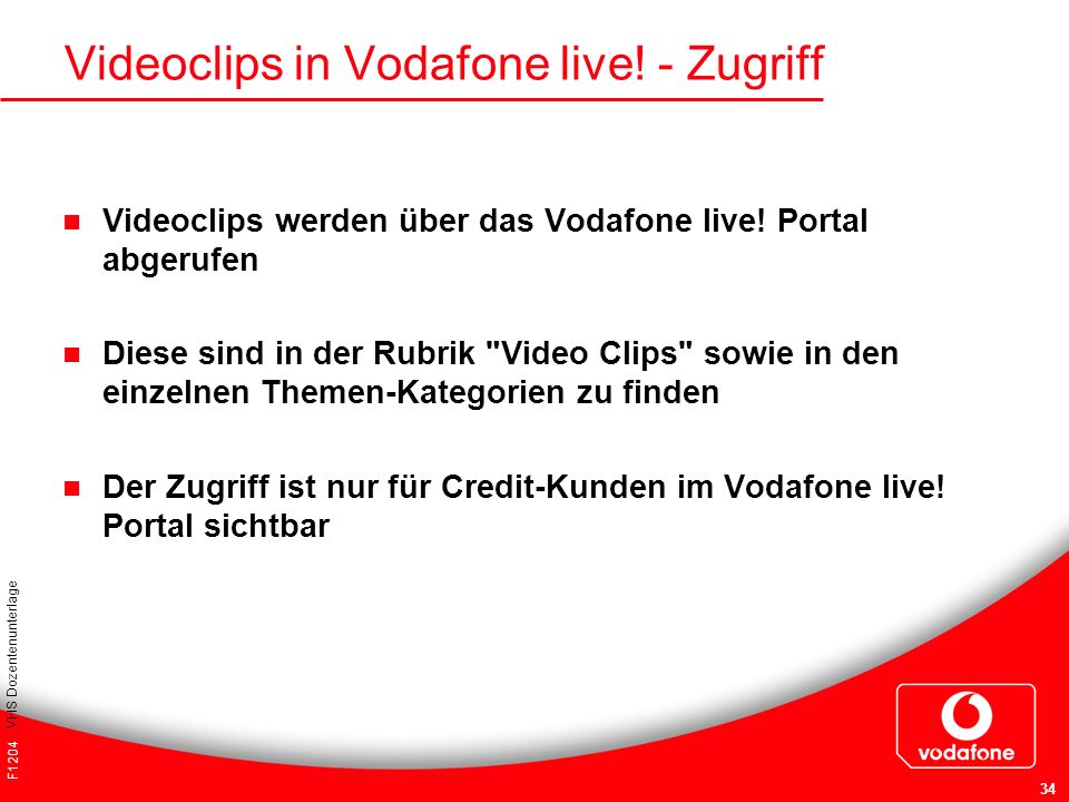 Videoclips in Vodafone live! - Zugriff