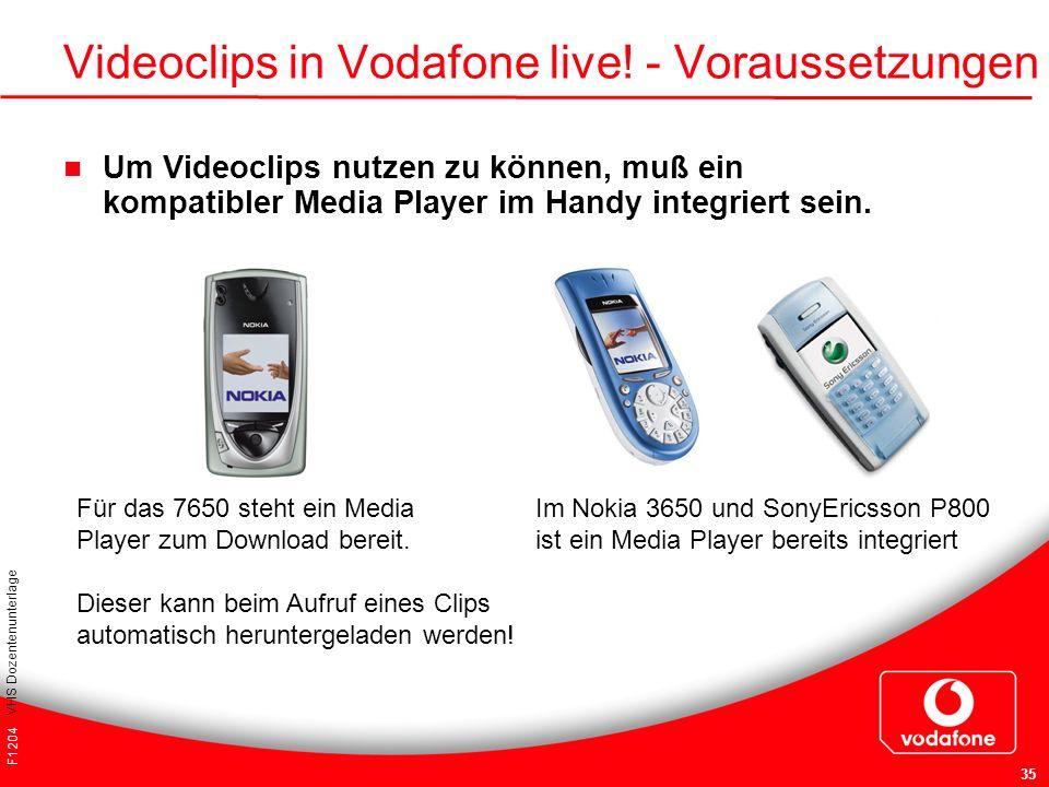 Videoclips in Vodafone live! - Voraussetzungen