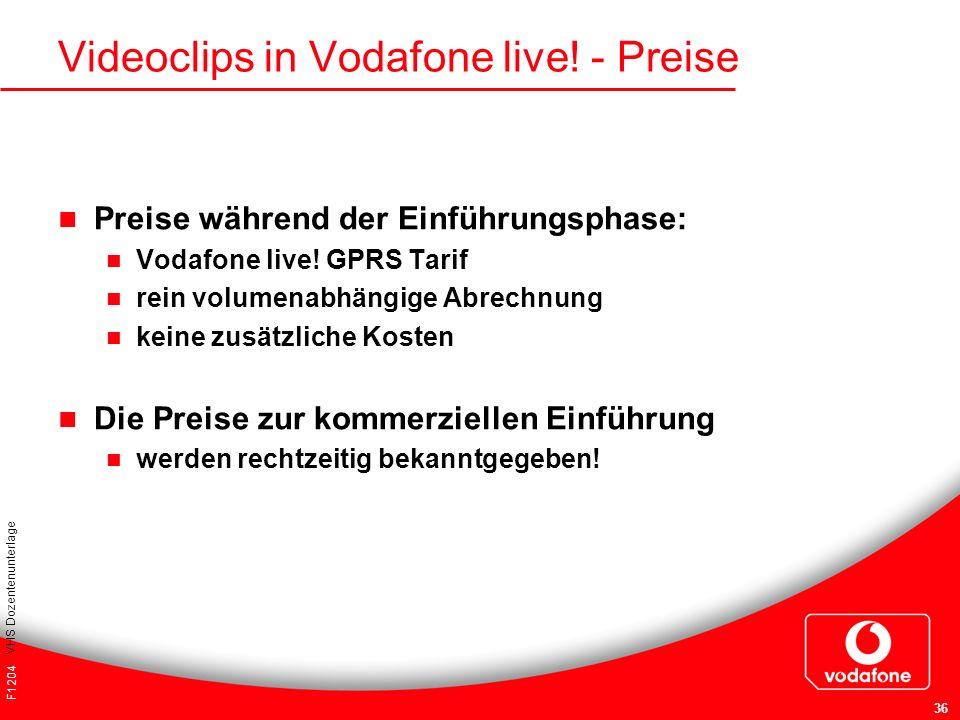 Videoclips in Vodafone live! - Preise